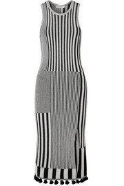 Lutetia tasseled ribbed stretch-knit midi dress