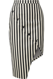 Paul Bert button-embellished striped stretch cotton-twill skirt