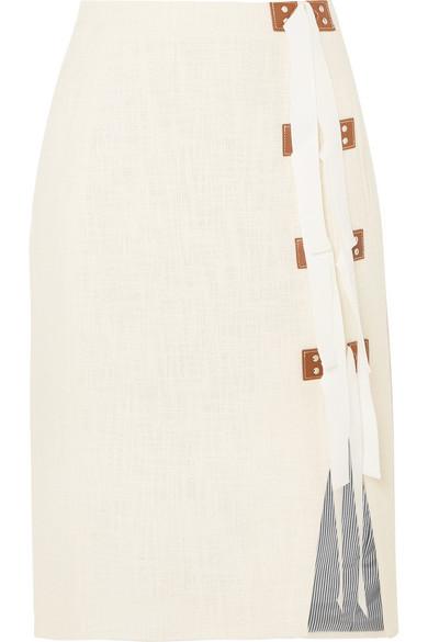 Altuzarra Sorbonne Rock aus Baumwoll-Tweed mit Besätzen aus Ripsband und Leder