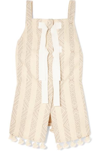 Altuzarra Archie Oberteil aus Jacquard aus einer Baumwollmischung mit Troddeln und Ripsband