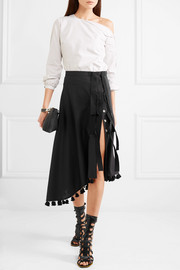 Basilica asymmetric tasseled wool and mohair-blend skirt
