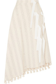 Altuzarra Basilica grosgrain-trimmed tasseled cotton-blend jacquard skirt