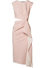 Jason Wu Cutout striped seersucker midi dress