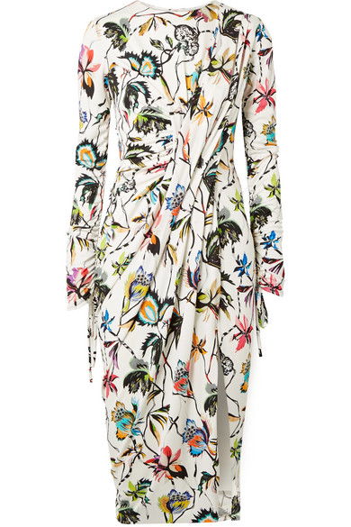 Jason Wu  GATHERED FLORAL-PRINT STRETCH-JERSEY DRESS