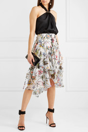 Ruffled printed silk-crepon midi skirt