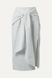 Jason Wu Tie-front striped seersucker skirt