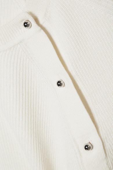 Jason Wu Pullover aus einer gerippten Woll-Seidenmischung mit Knopfverzierungen