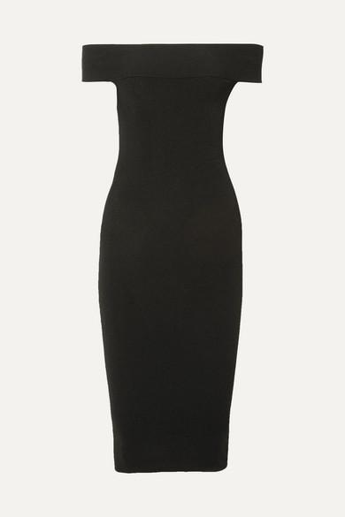 McQ Alexander McQueen Schulterfreies Kleid aus Rippstrick