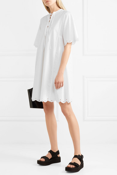 McQ Alexander McQueen Kleid aus Baumwollpopeline mit Lochstickerei