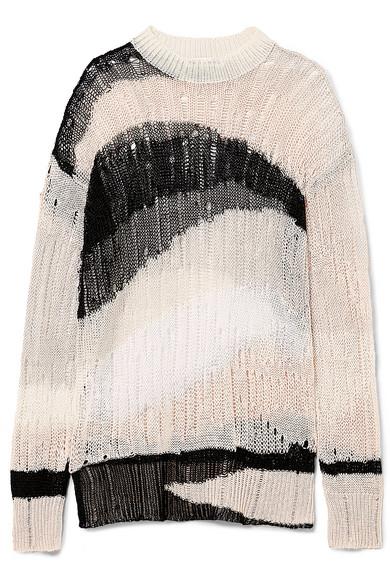 McQ Alexander McQueen Oversized-Pullover aus einer Leinen-Baumwollmischung in Distressed-Optik