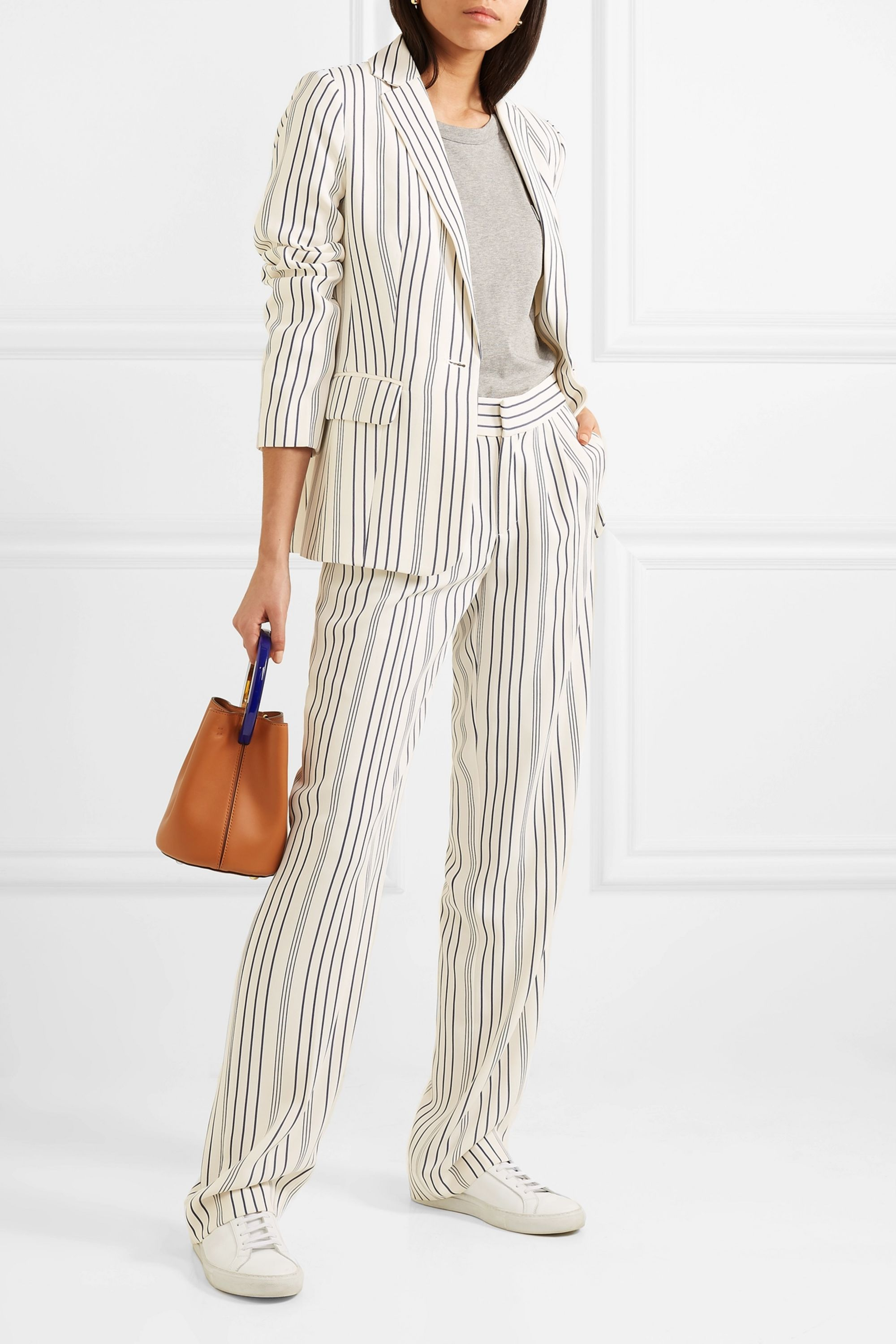 FRAME Striped crepe blazer