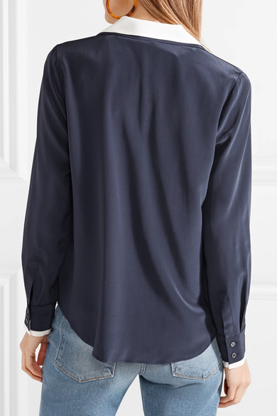 FRAME Zweifarbiges Hemd aus Crêpe de Chine aus Seide