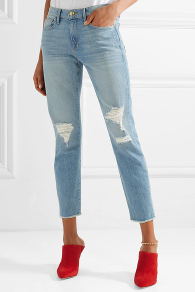 FRAME Le Boy hoch sitzende Jeans mit schmalem Bein in Distressed-Optik