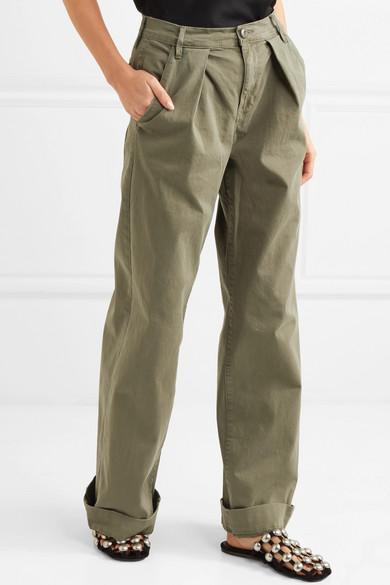FRAME Le Service Hose mit weitem Bein aus einer Baumwollmischung