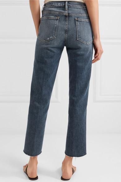 FRAME Le Nouveau hoch sitzende Jeans mit geradem Bein in Distressed-Optik