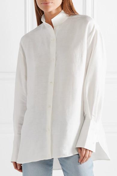 FRAME Oversized-Hemd aus einer Leinenmischung