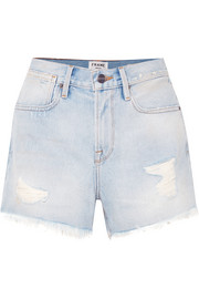 Le Stevie distressed high-rise denim shorts