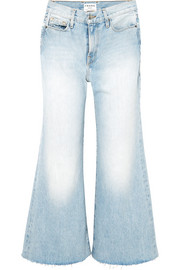 Le Palazzo frayed cropped high-rise wide-leg jeans