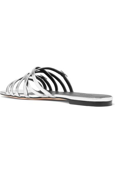 Metallic Leather Slides - Silver Rosetta Getty gj4R4