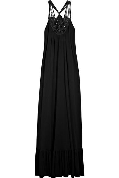 Insignia macramé-detailed maxi dress