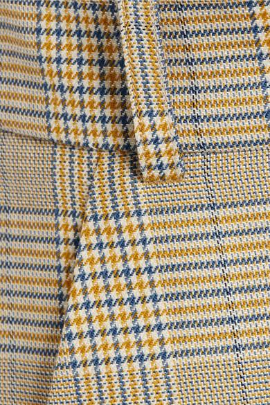 Tibi Cooper Minirock aus einer Woll-Seidenmischung mit Glencheck-Muster