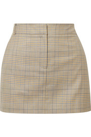 Cooper Prince of Wales checked wool and silk-blend mini skirt