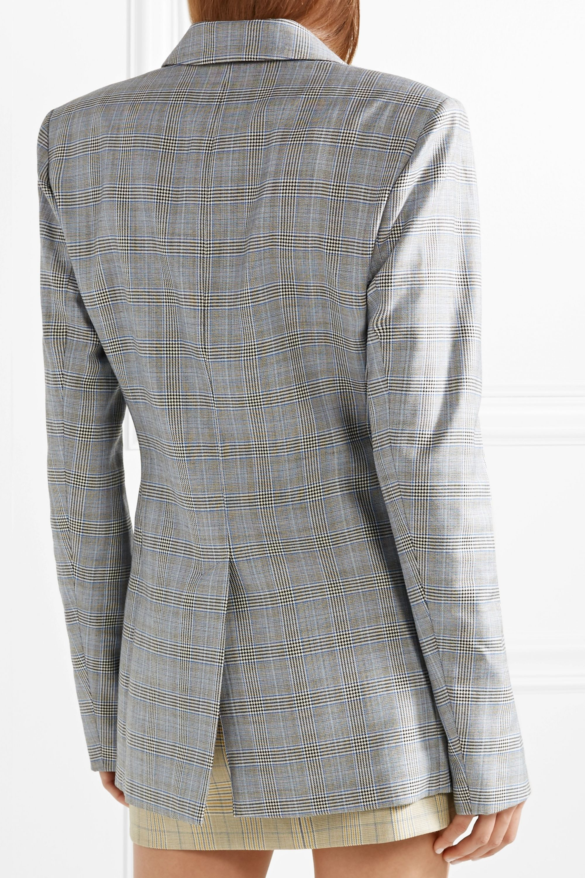 Tibi Cooper oversized cutout Prince of Wales checked wool and silk-blend blazer
