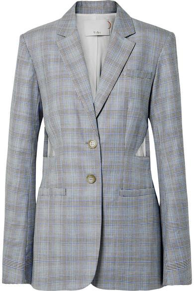 Tibi Cooper Oversized-Blazer aus einer Woll-Seidenmischung mit Glencheck-Muster und Cut-outs