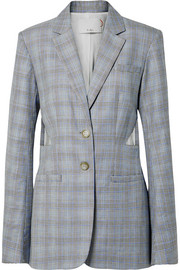 Cooper oversized cutout Prince of Wales checked wool and silk-blend blazer