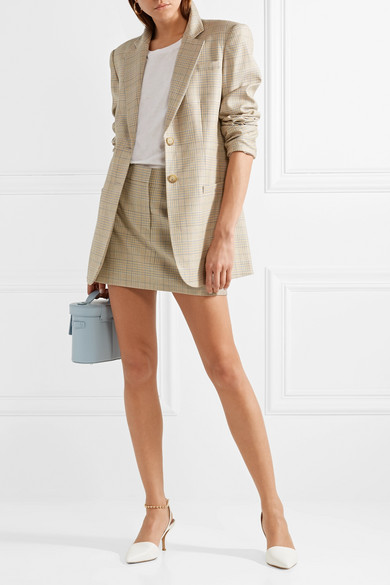 Tibi Cooper Oversized Blazer From A Wool-silk Blend With Glencheck-pattern