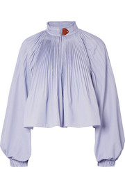 Isabelle pleated striped poplin blouse