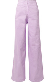 Tibi Cotton-blend wide-leg pants