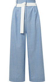 Serge belted cropped wool wide-leg pants
