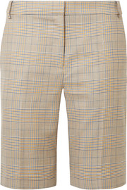 Tibi Cooper Prince of Wales checked wool and silk-blend shorts