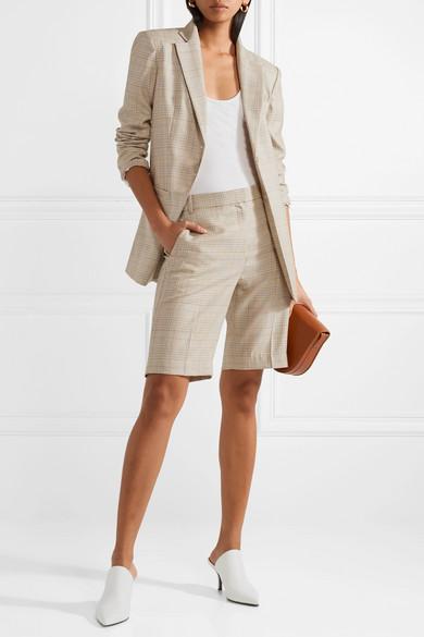 Tibi Cooper Shorts aus einer Woll-Seidenmischung mit Glencheck-Muster