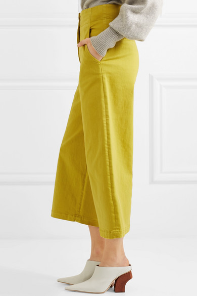 Tibi Shortened Twill-hose From Stretch Cotton With Wide Leg