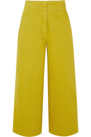 Cropped stretch-cotton twill wide-leg pants
