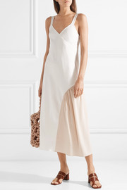 Tibi Two-tone faille and silk midi dress