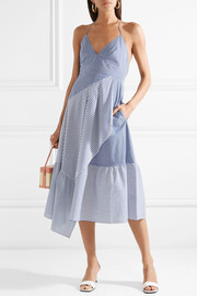 Tibi Striped cotton-blend poplin halterneck dress