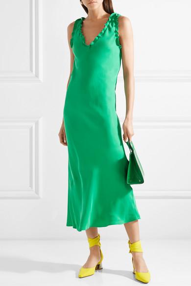 Ruffle-trimmed Washed-satin Midi Dress - Green Tibi JzuOmHv
