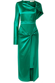 Asymmetric knotted silk-satin midi dress