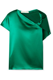 Knotted silk-satin top