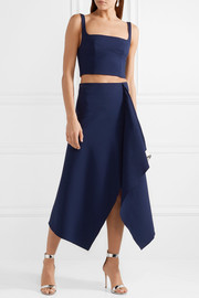 Asymmetric stretch wool-blend midi skirt