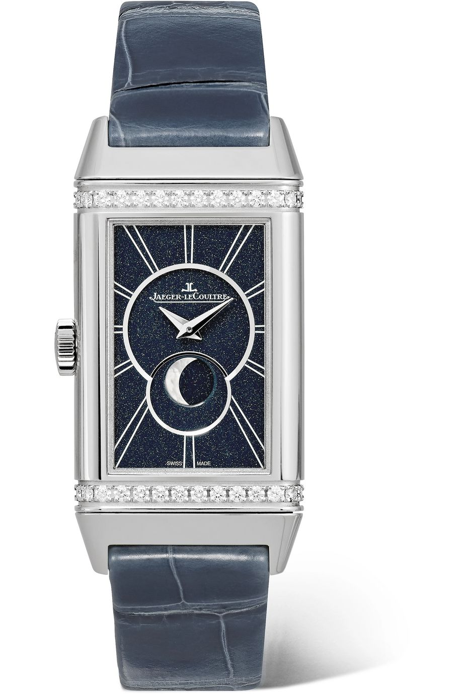 Jaeger-LeCoultre Reverso One Duetto Moon hand-wound stainless steel, diamond and alligator watch