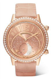 Montre en or rose et diamants, Rendez-Vous Moon 36 alligator