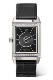 Reverso Classic Duetto medium stainless steel, diamond and alligator watch