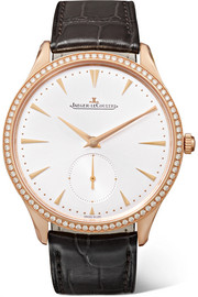 Master Ultra Thin Small Second 38,5 mm Uhr aus 18 Karat Roségold mit Diamanten und Alligatorlederarmband