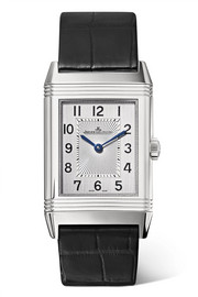 Reverso Classic Medium Thin stainless steel and alligator watch