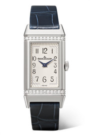 Reverso One medium stainless steel, diamond and alligator watch