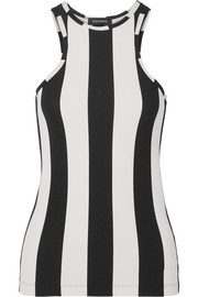 Striped ribbed stretch-jersey tank